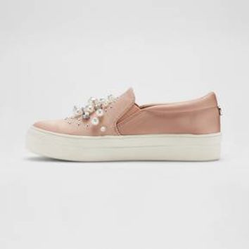 Women's Raquel Slip On Satin Sneakers with Embellished Stones and Pearls - Mossimo Supply Co.™
