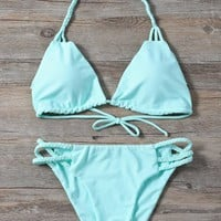 Side Strap Braided Plunge Bikini