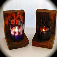 "Handmade Wall Sconce set Reclaimed Barn Wood and Iron Forest Candle Holder  2"" thick wood-- 81/2""x53/4""x61/2"" from front to back . Chunky"
