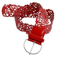 Women Single Pin Buckle Red Hollow Out Flower Faux Leather Belt