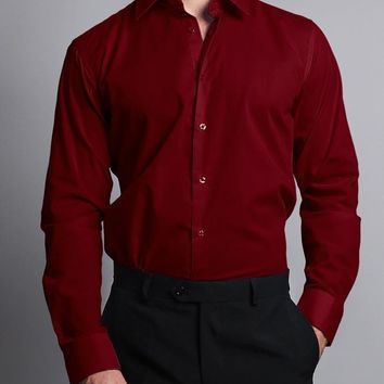 Men's Slim Fit Solid Color Dress Shirt (Burgundy)