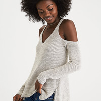 AEO Cold Shoulder Zipper Sweater, Gray