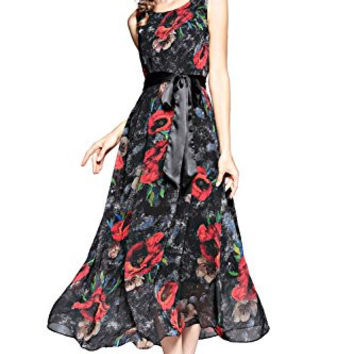 Joy EnvyLand Women Floral Print Wedding Evening Gown Prom Party Beach Maxi Dress