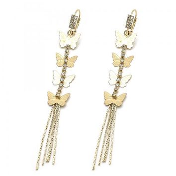 Gold Layered 5.125.028 Long Earring, Butterfly Design, with White Cubic Zirconia, Diamond Cutting Finish, Gold Tone