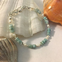 Larimar and Pearl Bracelet Handmade Caribbean Blue Atlantis Stone and White Freshwater Pearl Jewelry Beachy Sky Blue and White Bracelet