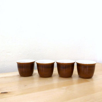 Vintage Chefsware Cups / Custard Cups / Brown Mixing Bowls / Egg Cups / Cooking Ware / Set of 4