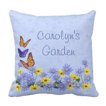 Pretty Butterflies and Daisies Spring Garden Outdoor Pillow