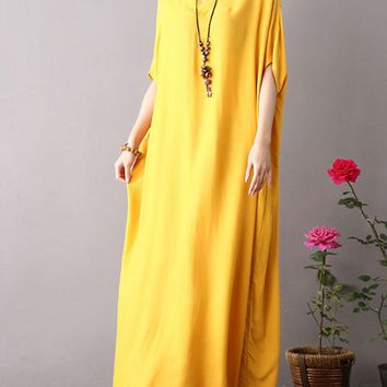 Casual Solid Color Baggy Dresses