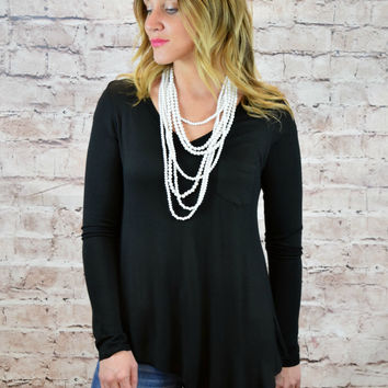 Alexandria V-Neck Pocket Asymmetrical Top - Black