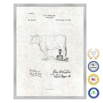 1887 Farming Cow Milker Antique Patent Artwork Silver Framed Canvas Print Home Office Decor Great for Farmer Milk Lover Cattle Rancher