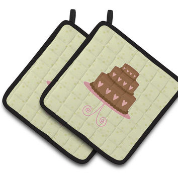 Heart Chocolate Cake on Green Pair of Pot Holders BB7303PTHD