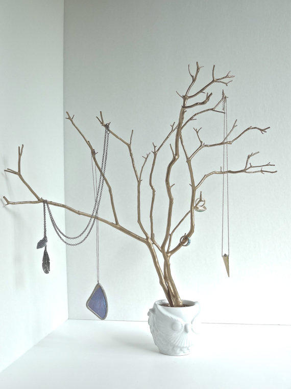 Jewelry Holder Tree Gold Owl Organizer from BluRavenDesigns on