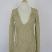 Banana Republic Open Knit Long Relaxed V Neck Tunic Sweater S