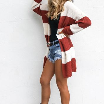 Come Back Cream and Rust Striped Hoodie Cardigan