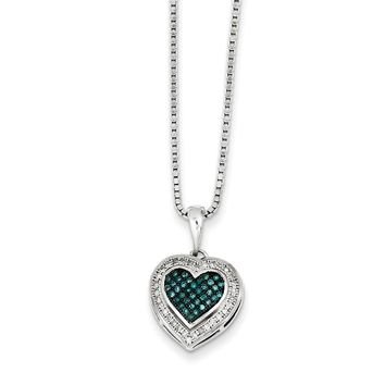1/5 Ctw Blue & White Diamond 13mm Heart Necklace in Sterling Silver