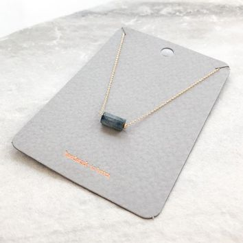 Dainty Cylinder Natural Stone Necklace