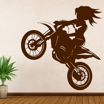 Vinyl Decal Motorsports  Wall Sticker Girl Rider a Bike Stunt Decor Living Room  Unique Gift (n383)