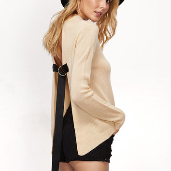 Apricot Buckle Strap Back Sweater