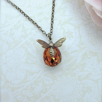 Bee Necklace. Bee Lover Gift. Bee and Honey Necklace. Bee Jewelry, Golden Topaz Yellow Rhinestone Glass Jewel Flying Bee Necklace. Fall, BFF