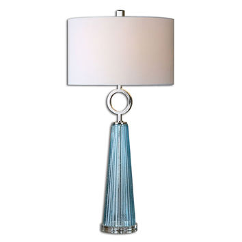 Uttermost 27698-1 Navier Seeded Blue with Polished Nickel One Light Table Lamp with Blue Glass