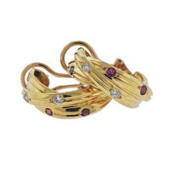 Cartier Trinity Sapphire Diamond Ruby Gold Hoop Earrings