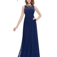 Navy Blue Prom Dresses Ever Pretty EP08824 Elegant Formal A Line Floor Length Long Plus Size Lace Prom Dresses