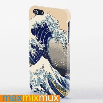 Hokusai Great Wave Japanese Print Blue iPhone 4/4S, 5/5S, 5C Series Full Wrap Case