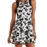 Mesh Cut-Out Floral Skater Dress by Charlotte Russe