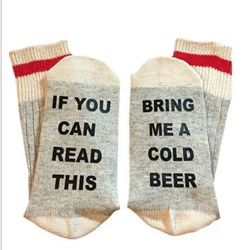 1 Pair Unisex If You can read this Bring Me a Glass of Wine Women Men Socks Funny Letter Print Contract Color Socks Fall Winter