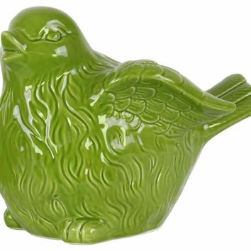 Bird Figurine with Wings Up Large - Green - Benzara