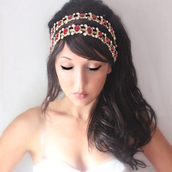 Gold and Red Royal Bride Rhinestone Bridal headpiece by deLoop