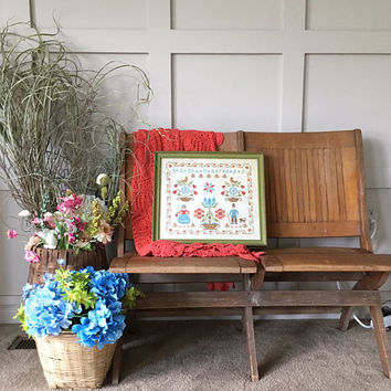 Vintage Framed Cross Stitch Marraige Sampler, Primitive Needlepoint Family Artwork, Vintage Wall Decor with Birds and Flowers