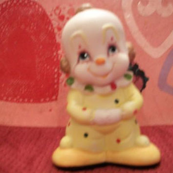 Vintage Sweet Face Clown Figurine Interpur Bald Headed Yellow Polka Dots