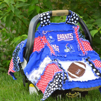 Football CAR SEAT COVER, Rag Quilt Style, Blue and Red Giants,  Ready to Ship in 1 Business Day