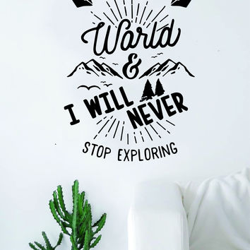 I Love the World Adventure Explore Quote Wall Decal Sticker Bedroom Living Room Art Vinyl Beautiful Inspirational Motivational Travel Teen