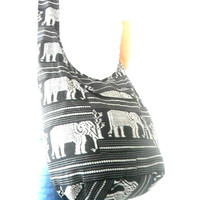 Shoulder Bag Sling Thai Hippie Hobo Nepal Black White Gray Color Bag Crossbody Bag Hippie Boho Bohemian Bag Purse  Messenger Gift Bag