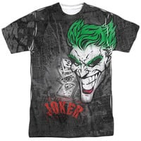 BATMAN/JOKER SPRAYS THE CITY -  S/S ADULT 100% POLY CREW - WHITE -