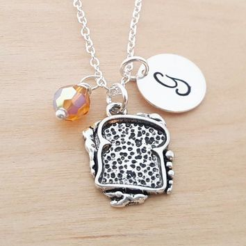 Grilled Cheese Necklace - Sandwich Charm - Birthstone Necklace - Personalized Gift - Initial Necklace - Sterling Silver - Gift for Her