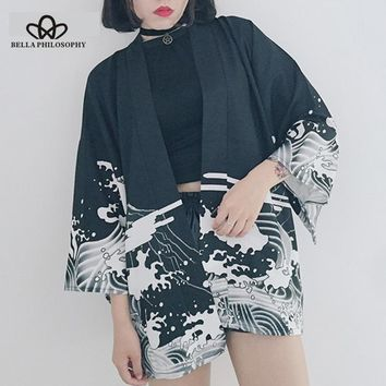 Bella Philosophy Japan style print vintage Harajuku Style Blouse Waves and Wind Dragon Shirts Japanese batwing sleeve kimono