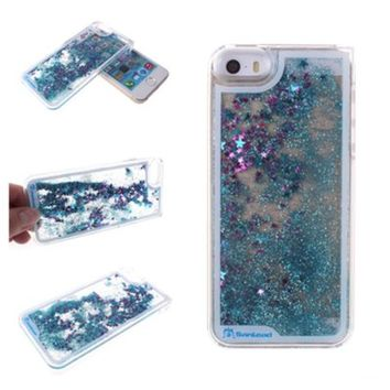 iPhone 5S Case,iPhone SE Case,Nine States Quicksand and Musical Note Hard Case for Apple iPhone SE 2016 & iPhone 5S 5(Blue)