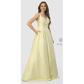 V-Neck and Back Plus Size Lemon Long Prom Dress with Pockets