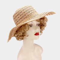 Brown Linen straw floppy sun hat with bow band, Sun hat, Summer hat, boat, beach, vacation
