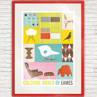 Mid Century poster Eames print retro decor Modernist by handz