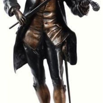 Mozart Playing the Violin Statue, Lost Wax Bronze Metal
