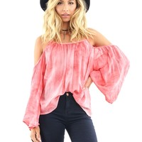 West Coast Wardrobe Glowing Sundown Cold Shoulder Top in Pink | Boutique To You