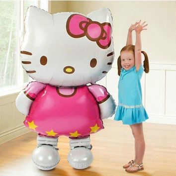 116*65cm Large Size Hello Kitty Cat Foil Balloons Cartoon Birthday Wedding Decoration Globos Party Inflatable Air Ballons