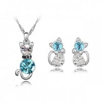 Silver Plated Cute Cat Austrian Crystal Jewelry Sets Necklace+ Stud Earrings