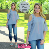 Stylish Surprise Cold Shoulder Blouse in Silver Grey
