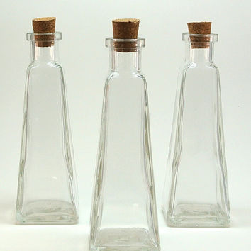 4 Pyramid Bottles- Triangle Bottles for Reed Diffuser, DIY Wedding, Oil and Vinegar, Bath Salt, Potion, Message in Bottle, Favors