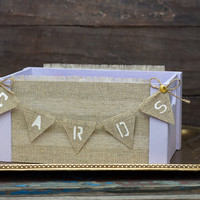 Purple Wedding Card Box with Banner Lavender Wedding Decor Barn Wood Crates Baskets Centerpiece Reception Decor